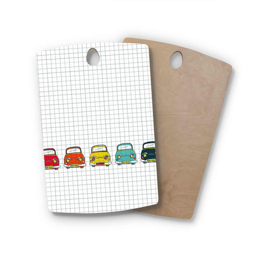 "MaJoBV ""Boys Rock"" Multicolor Cars Rectangle Wooden Cutting Board"