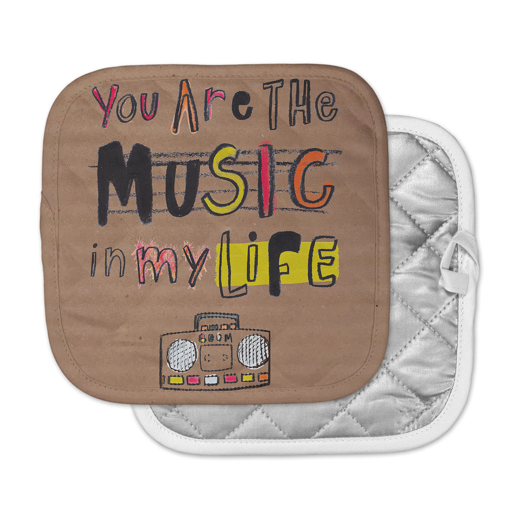 "MaJoBV ""Music In My Life"" Brown Quote Pot Holder"