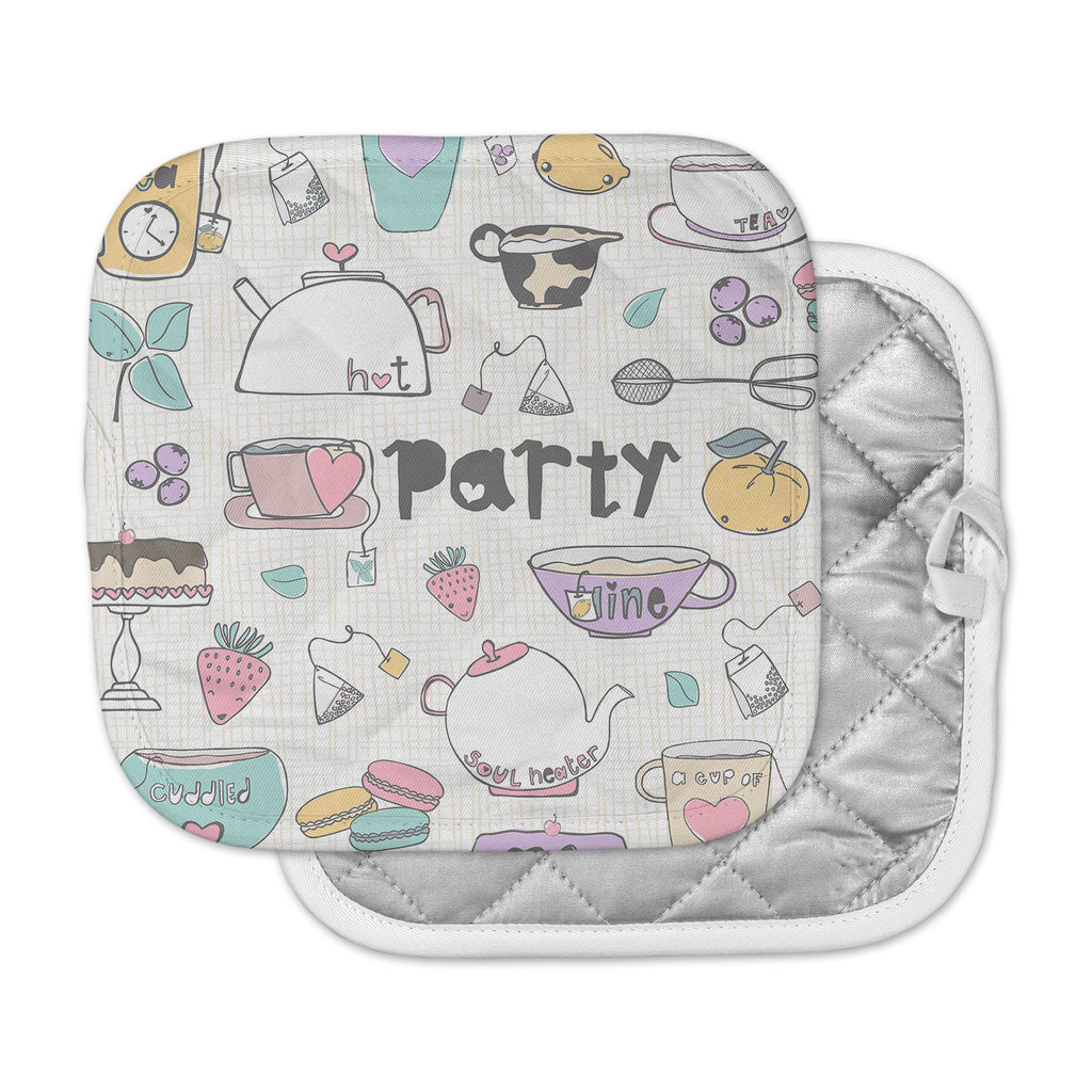 "MaJoBV ""Tea Party"" White Multicolor Pot Holder"