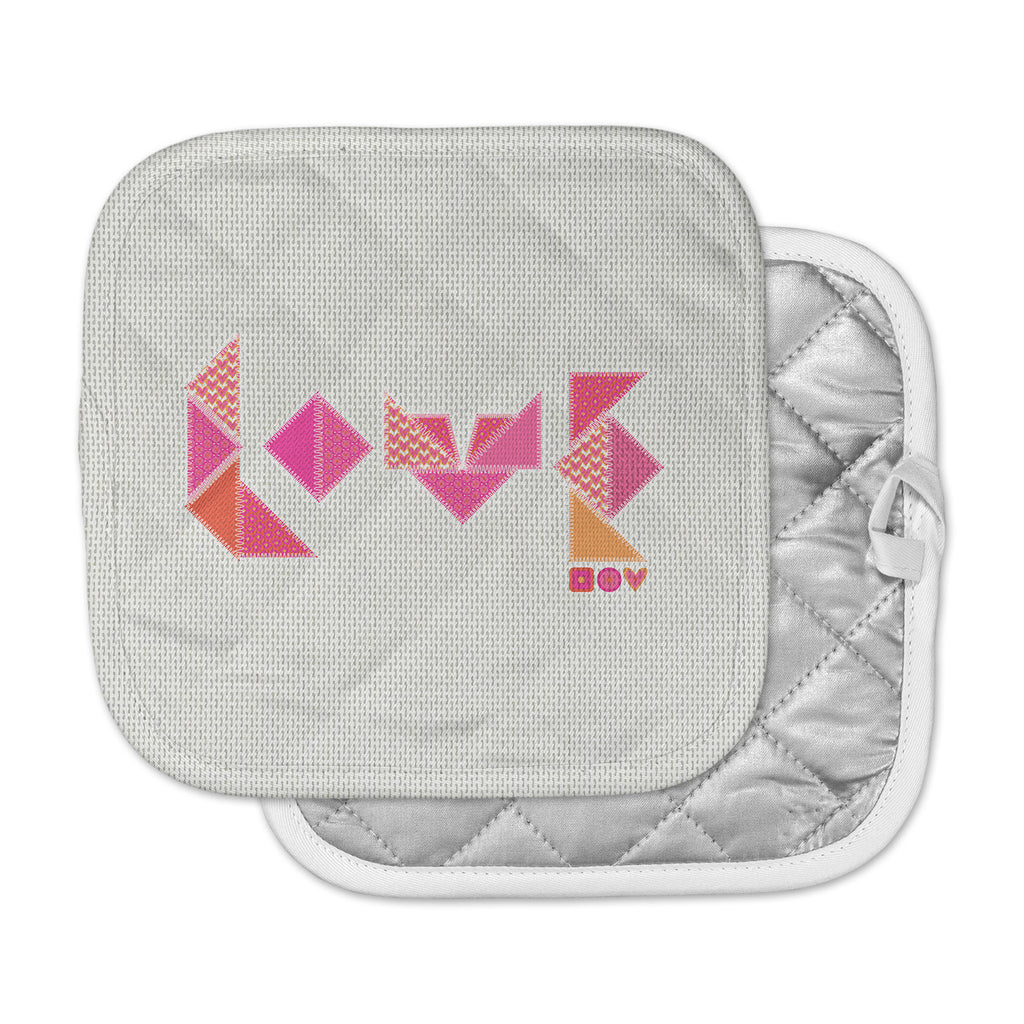 "MaJoBV ""Stitched Love"" Pink Geometric Pot Holder"