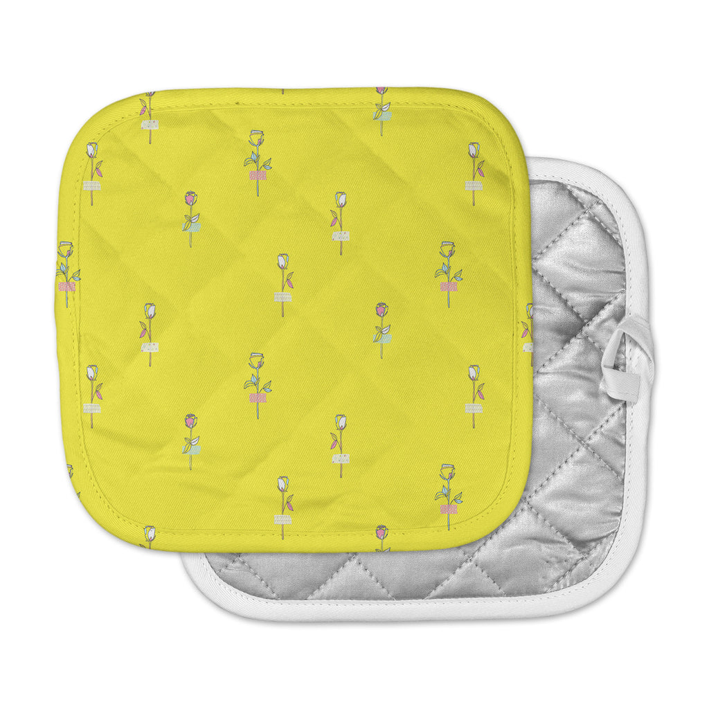 "MaJoBV ""Rosewall / Yellow"" Floral Pattern Pot Holder"
