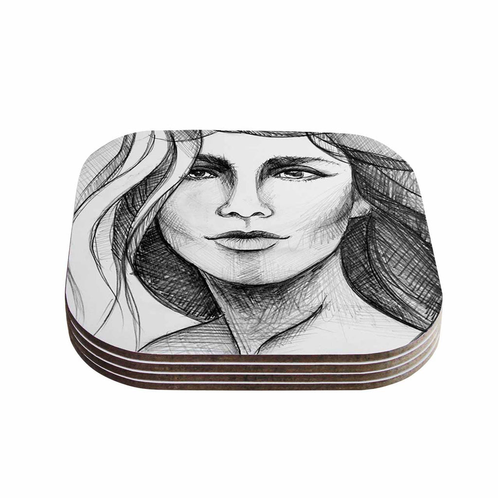 "Maria Bazarova ""Fashion Woman "" Black People Coasters (Set of 4)"