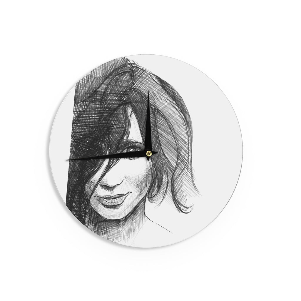 "Maria Bazarova ""Self Portrait"" Balck White Wall Clock - KESS InHouse"