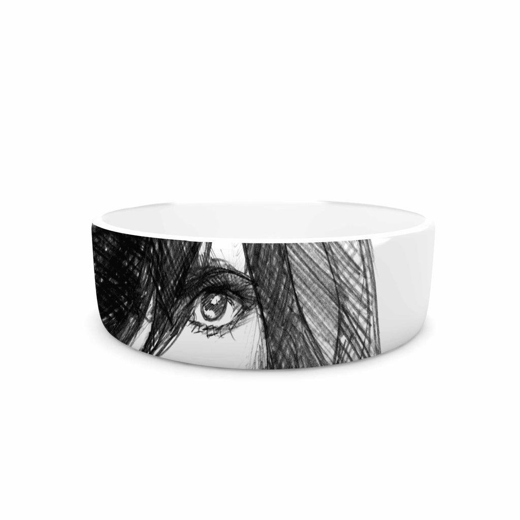 "Maria Bazarova ""Self Portrait"" Balck White Pet Bowl - KESS InHouse"