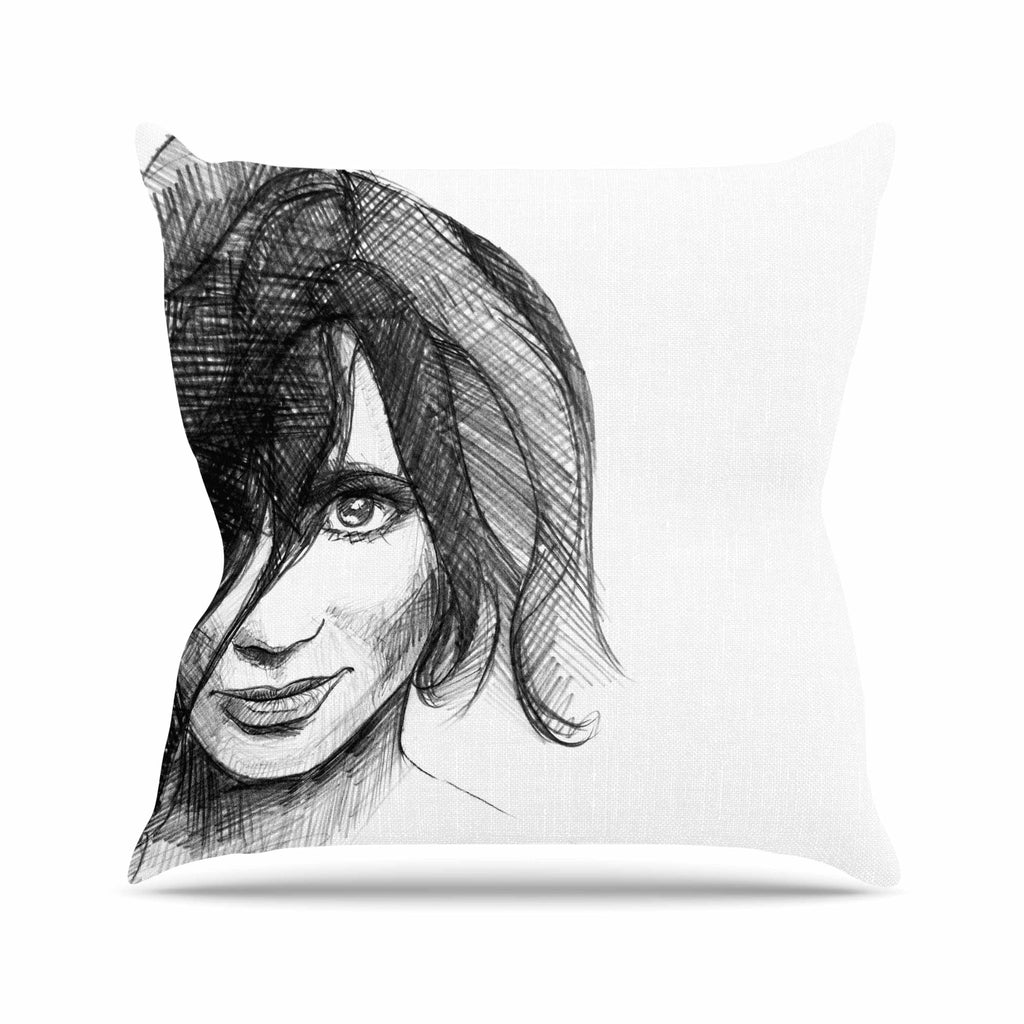 "Maria Bazarova ""Self Portrait"" Balck White Outdoor Throw Pillow - KESS InHouse  - 1"