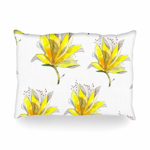 "Maria Bazarova ""Mystery Yellow Flowers"" Yellow Green Nature Floral Watercolor Painting Oblong Pillow"