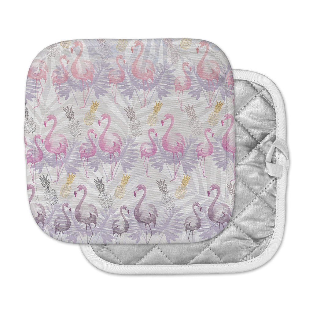 "Mmartabc ""Flamingos And Pineapples"" Purple Pink Watercolor Pot Holder"