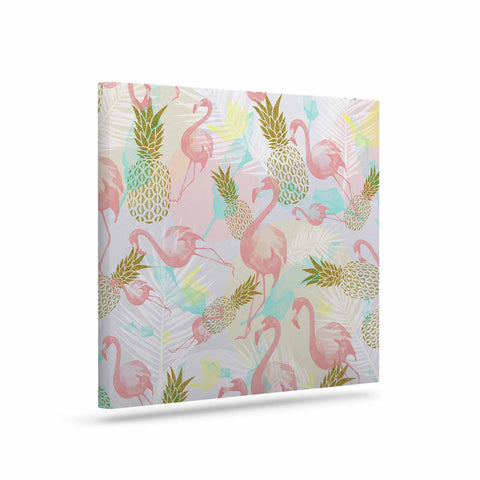 "Mmartabc ""Tropical Fruit Animals"" Pink Gold Illustration Canvas Art"