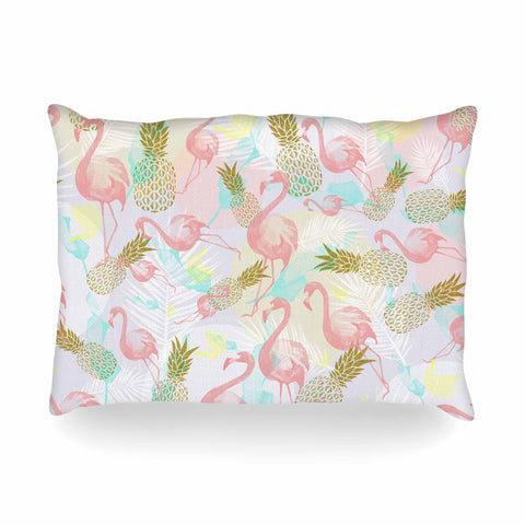 "Mmartabc ""Tropical Fruit Animals"" Pink Gold Illustration Oblong Pillow"