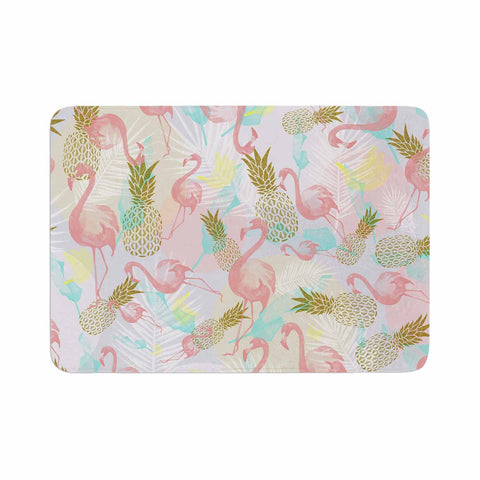 "Mmartabc ""Tropical Fruit Animals"" Pink Gold Illustration Memory Foam Bath Mat"