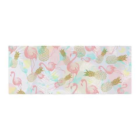 "Mmartabc ""Tropical Fruit Animals"" Pink Gold Illustration Bed Runner"