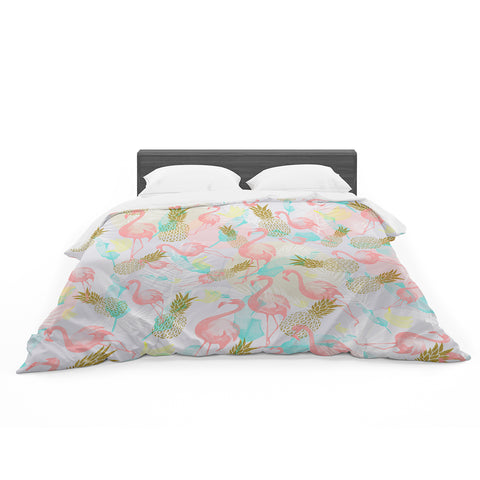 "Mmartabc ""Tropical Fruit Animals"" Pink Gold Illustration Featherweight Duvet Cover"