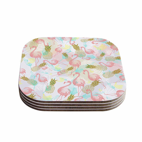 "Mmartabc ""Tropical Fruit Animals"" Pink Gold Illustration Coasters (Set of 4)"