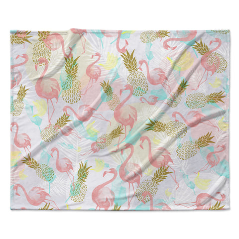 "Mmartabc ""Tropical Fruit Animals"" Pink Gold Illustration Fleece Throw Blanket"