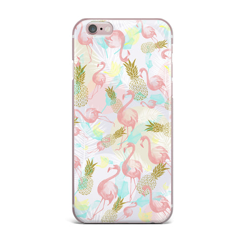 "Mmartabc ""Tropical Fruit Animals"" Pink Gold Illustration iPhone Case"