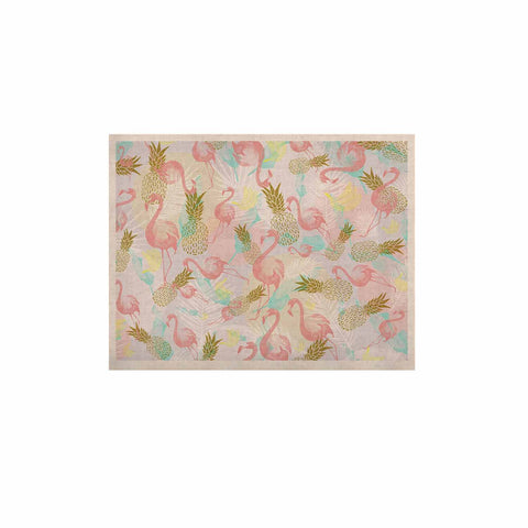 "Mmartabc ""Tropical Fruit Animals"" Pink Gold Illustration KESS Naturals Canvas (Frame not Included)"