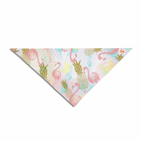 "Mmartabc ""Tropical Fruit Animals"" Pink Gold Illustration Pet Bandana"