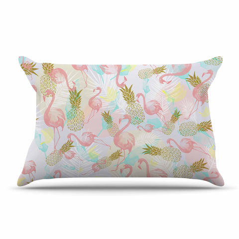 "Mmartabc ""Tropical Fruit Animals"" Pink Gold Illustration Pillow Sham"