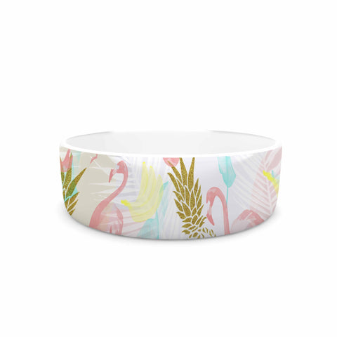 "Mmartabc ""Tropical Fruit Animals"" Pink Gold Illustration Pet Bowl"