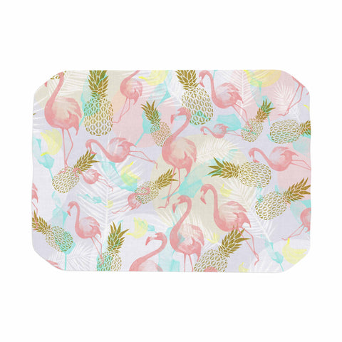 "Mmartabc ""Tropical Fruit Animals"" Pink Gold Illustration Place Mat"