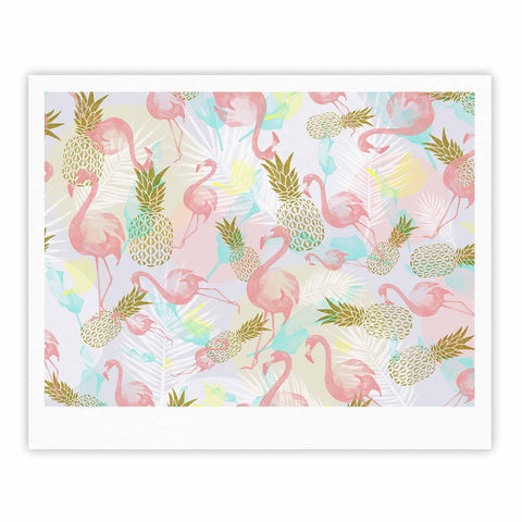 "Mmartabc ""Tropical Fruit Animals"" Pink Gold Illustration Fine Art Gallery Print"