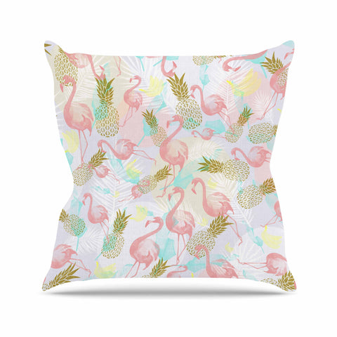 "Mmartabc ""Tropical Fruit Animals"" Pink Gold Illustration Outdoor Throw Pillow"