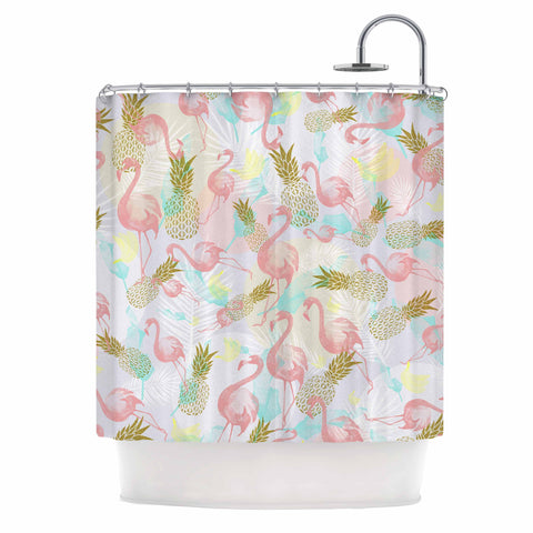 "Mmartabc ""Tropical Fruit Animals"" Pink Gold Illustration Shower Curtain"