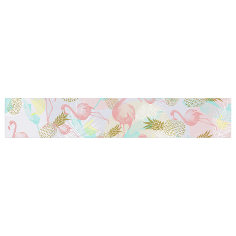 "Mmartabc ""Tropical Fruit Animals"" Pink Gold Illustration Table Runner"