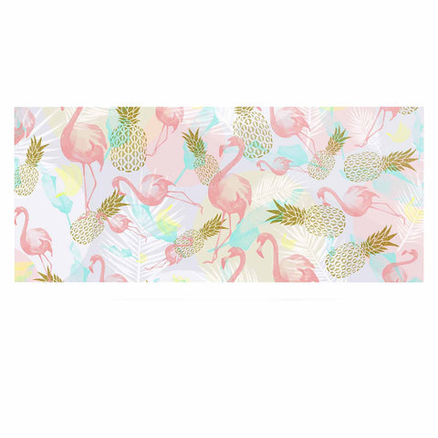 "Mmartabc ""Tropical Fruit Animals"" Pink Gold Illustration Luxe Rectangle Panel"
