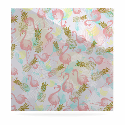 "Mmartabc ""Tropical Fruit Animals"" Pink Gold Illustration Luxe Square Panel"