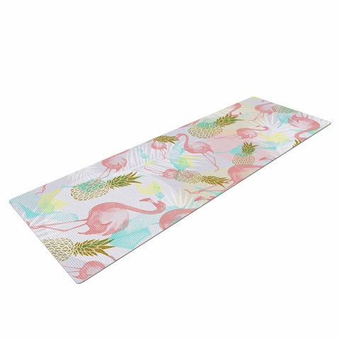 "Mmartabc ""Tropical Fruit Animals"" Pink Gold Illustration Yoga Mat"