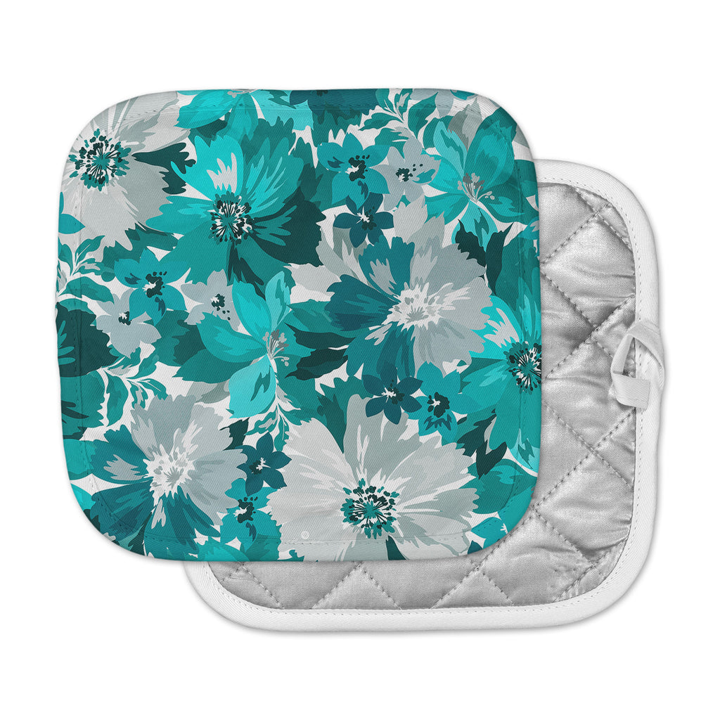 "Mmartabc ""Turquoise Blossoms"" Blue Gray Illustration Pot Holder"