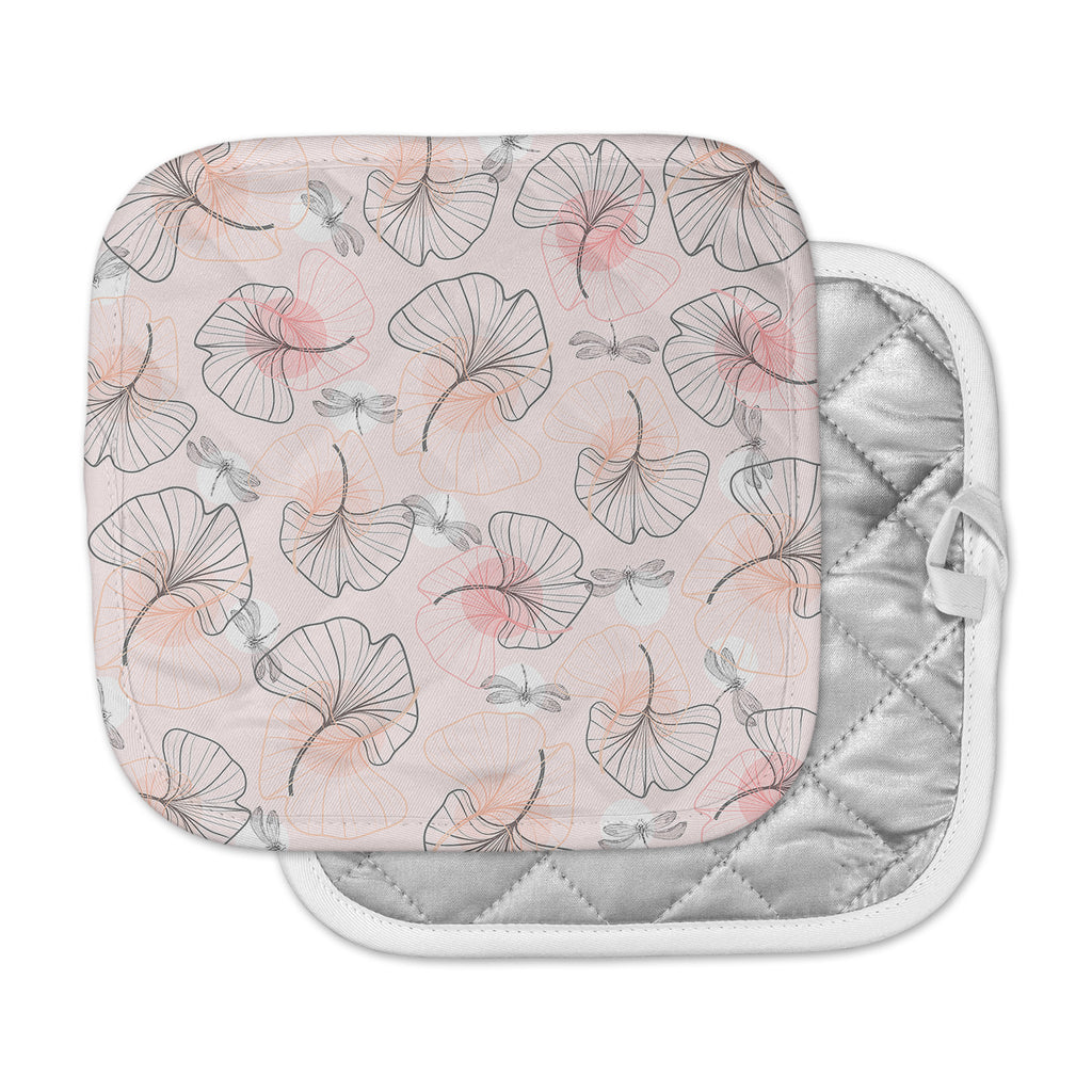 "Mmartabc ""Pattern Flowers And Dragonflies"" Pink Gray Illustration Pot Holder"