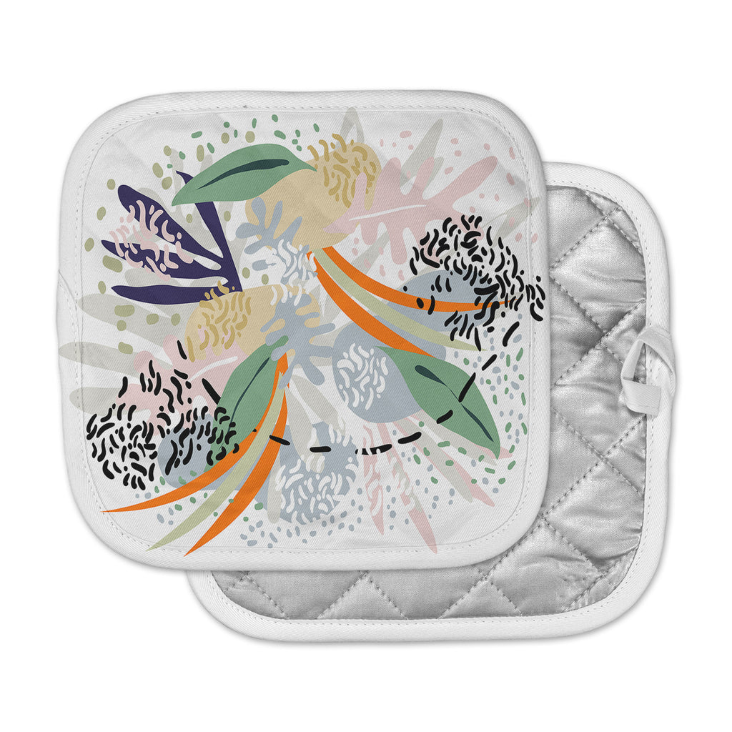 "Mmartabc ""Abstract Marine Shapes"" Multicolor White Illustration Pot Holder"
