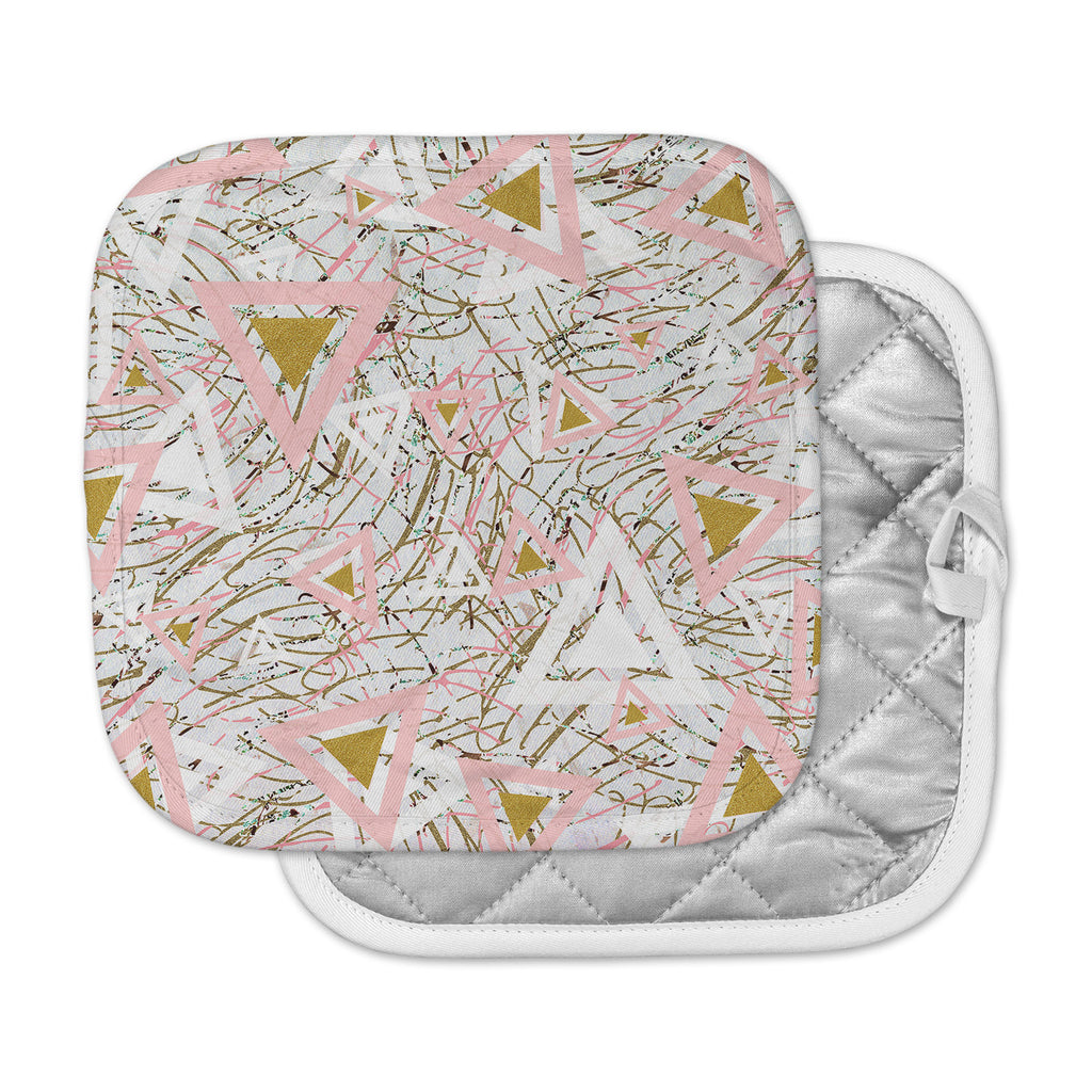 "Mmartabc ""Strokes And Triangles"" Gold Pink Vector Pot Holder"