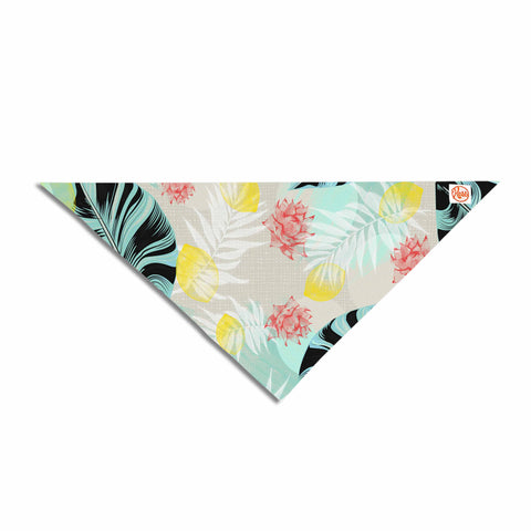 "Mmartabc ""Tropical Plants"" Blue Beige Illustration Pet Bandana - Outlet Item"