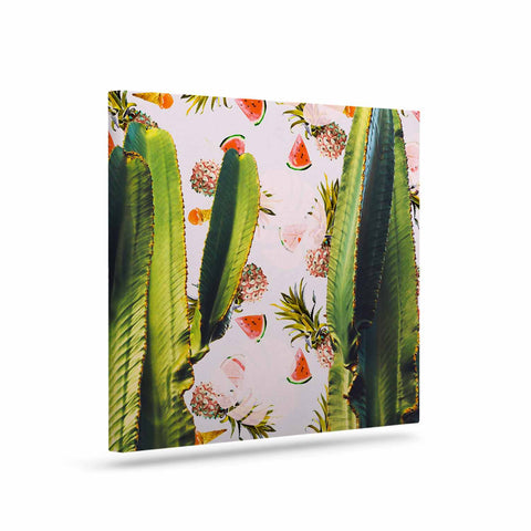 "Mmartabc ""Cactus Among Tropical Pattern"" Green Pink Photography Art Canvas"