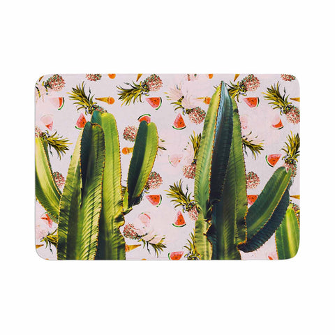 "Mmartabc ""Cactus Among Tropical Pattern"" Green Pink Photography Memory Foam Bath Mat"