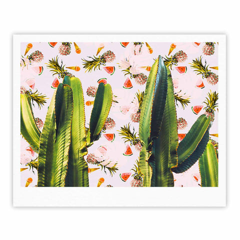 "Mmartabc ""Cactus Among Tropical Pattern"" Green Pink Photography Fine Art Gallery Print"