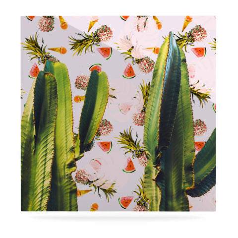 "Mmartabc ""Cactus Among Tropical Pattern"" Green Pink Photography Luxe Square Panel"