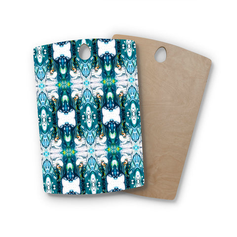 "mmartabc ""Mosaic Pattern Abstract"" Blue White Abstract Pattern Painting Watercolor Rectangle Wooden Cutting Board"