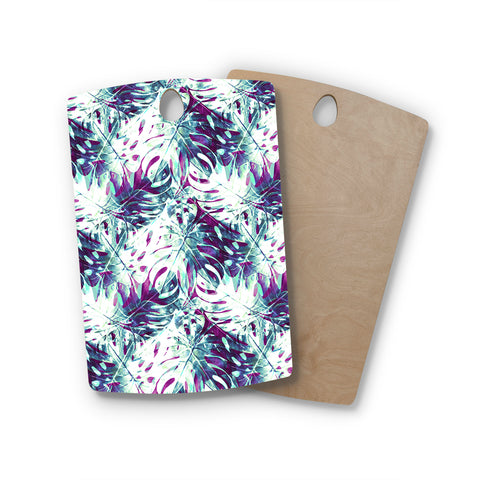 "mmartabc ""Pattern Purple Tropical Leaf"" Green Purple Pattern Nature Illustration Digital Rectangle Wooden Cutting Board"