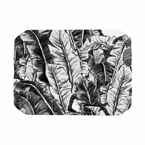 "mmartabc ""Tropical Leaf Black And White"" Black White Nature Travel Illustration Painting Place Mat"