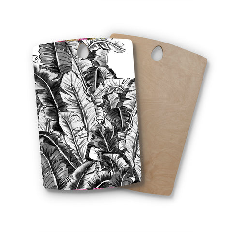 "mmartabc ""Tropical Leaf Black And White"" Black White Nature Travel Illustration Painting Rectangle Wooden Cutting Board"