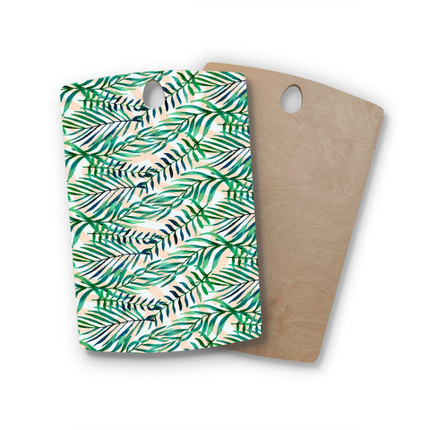 "mmartabc ""Leaf Watercolor Pattern I"" Green Orange Pattern Nature Illustration Watercolor Rectangle Wooden Cutting Board"