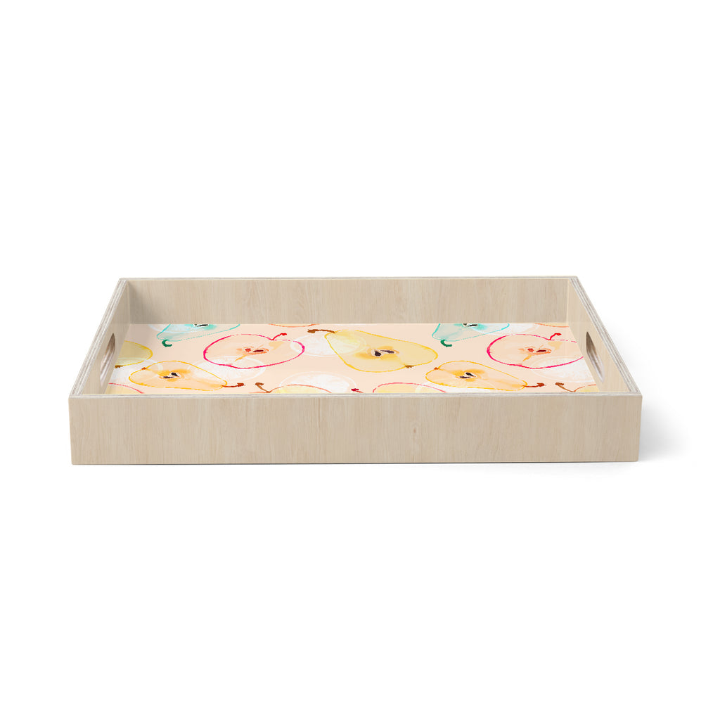 "mmartabc ""Pattern Fruits Apples And Pear"" Blue Orange Food Pattern Illustration Watercolor Birchwood Tray"