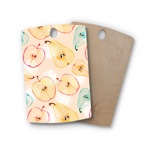 "mmartabc ""Pattern Fruits Apples And Pear"" Blue Orange Food Pattern Illustration Watercolor Rectangle Wooden Cutting Board"