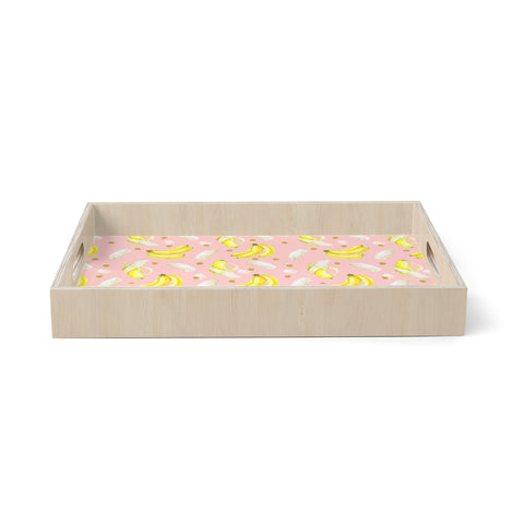 "mmartabc ""Banana Pattern"" Pink Yellow Food Pattern Watercolor Illustration Birchwood Tray"