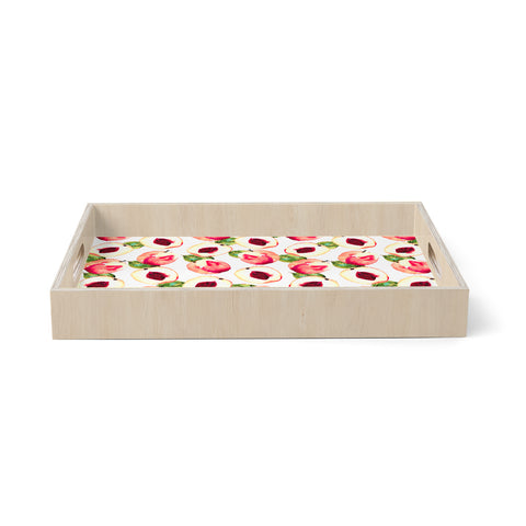 "mmartabc ""PINK PEACH PATTERN II"" Pink Green Food Pattern Illustration Watercolor Birchwood Tray"