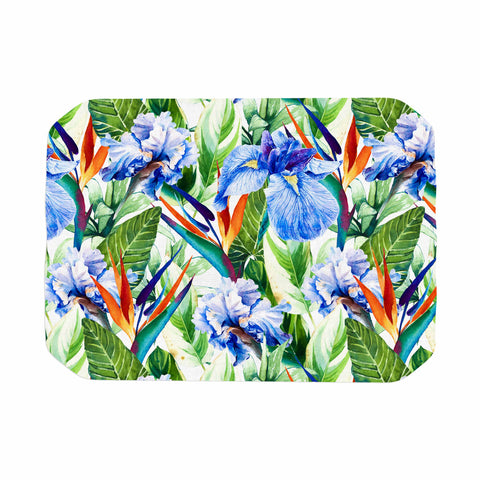 "mmartabc ""Floral Exotic Pattern I"" Blue Green Pattern Nature Illustration Watercolor Place Mat"